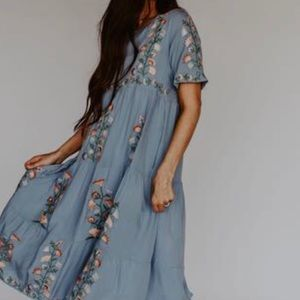 Light blue boho smocked dress with embroidery